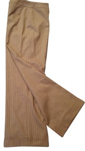 Ann Taylor LOFT Wide Leg Pants Camel and Cream pinstripe