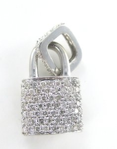 14KT SOLID WHITE GOLD LOCK 94 DIAMONDS 2.00 CARAT CHARM 5.28 GRAMS FINE JEWELRY