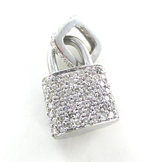 Other 14KT SOLID WHITE GOLD LOCK 94 DIAMONDS 2.00 CARAT CHARM 5.28 GRAMS FINE JEWELRY Image 1