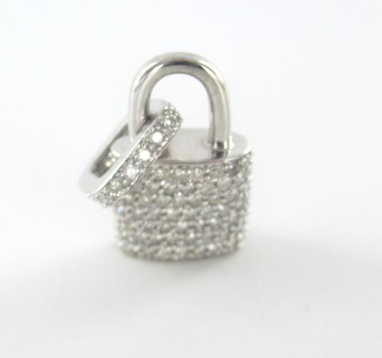 Other 14KT SOLID WHITE GOLD LOCK 94 DIAMONDS 2.00 CARAT CHARM 5.28 GRAMS FINE JEWELRY Image 2