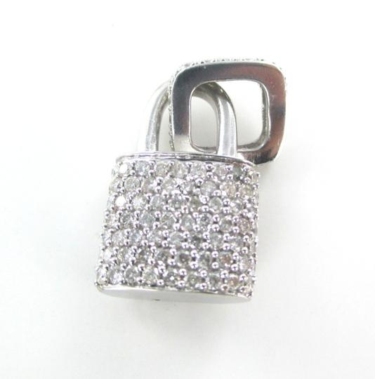 Other 14KT SOLID WHITE GOLD LOCK 94 DIAMONDS 2.00 CARAT CHARM 5.28 GRAMS FINE JEWELRY Image 4