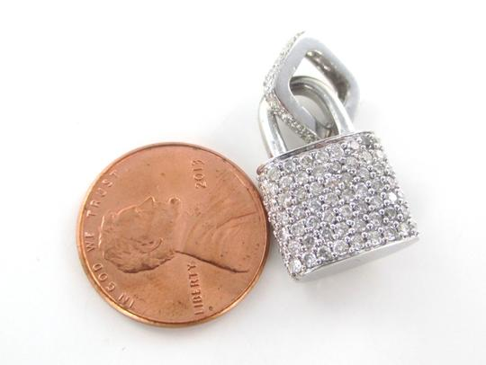 Other 14KT SOLID WHITE GOLD LOCK 94 DIAMONDS 2.00 CARAT CHARM 5.28 GRAMS FINE JEWELRY Image 6