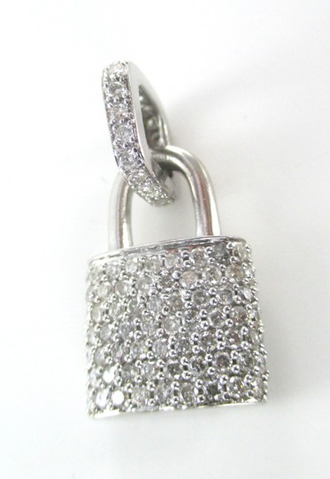 Other 14KT SOLID WHITE GOLD LOCK 94 DIAMONDS 2.00 CARAT CHARM 5.28 GRAMS FINE JEWELRY Image 7