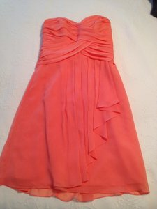 David's Bridal Coral Reef Chiffon Short Crinkle Front Cascade Style F14847 Casual Bridesmaid/Mob Dress Size 6 (S)