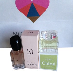 Giorgio Armani Miniature Collection CHLO L'EAU 0.17 fl oz 5 ml and ARMANI Si 7 ml 0.24 fl oz both new never been used with the box