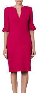 Alexander McQueen Bell Sleeves Sheath Pleated Wool Crepe Dress