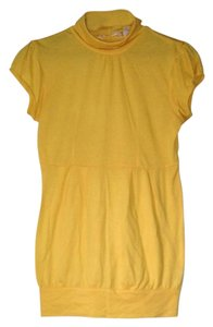 Derek Heart Yellow Turtleneck Yellow Short Sleeve Yellow Turtleneck Tunic