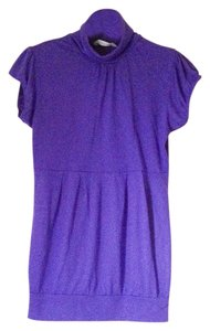 Derek Heart Purple Turtleneck Purple Short Sleeve Purple Turtleneck Tunic