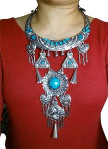 NEW TURQUOISE BLUE SILVER BOHEMIAN NECKLACE & EARRINGS SET