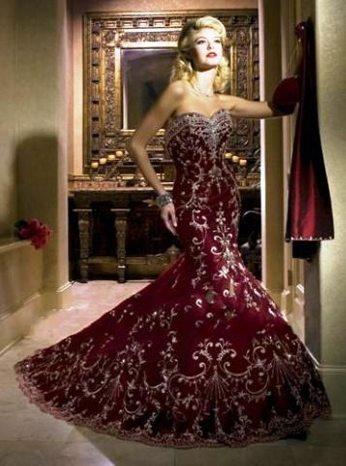 8bfcac03f2f Mary s Bridal Dark Red Embroidered Net 8675 Modern Wedding Dress ...