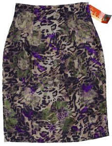 Teri Jon Pencil Knee Floral Skirt Leopard pattern with purple and green