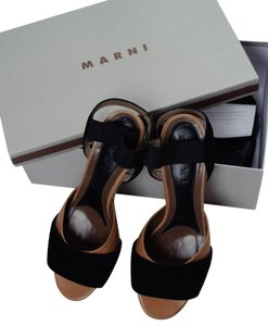 Marni Platform Leather Wood tan/black/beige Pumps