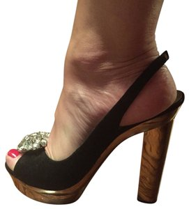 Luciano Barahini Black, gold Platforms