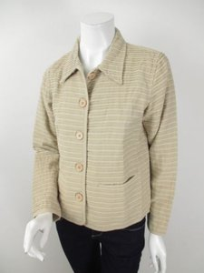The Territory Ahead Womens Cotton Striped Blazer Cream Jacket