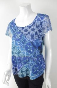 Chico's Rhinestone Floral Medallion Lace Sleeve 1 T Shirt Blue