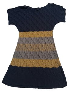 Windsor short dress Navy, Gold & Grey Striped Sweater Sweaterdress on Tradesy