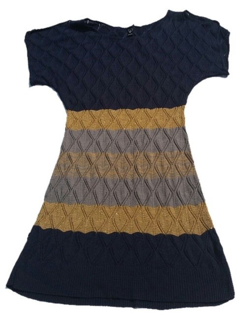 Windsor short dress Navy, Gold & Grey Striped on Tradesy