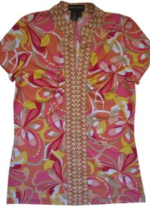 Dana Buchman Short Sleeve Pink Top Pink, multi