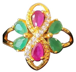 Lovely Natural Ruby, Emerald and Topaz 925 Sterling Silver Ring 6