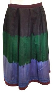 Oscar de la Renta Color Block Skirt Brown, Green,Blue