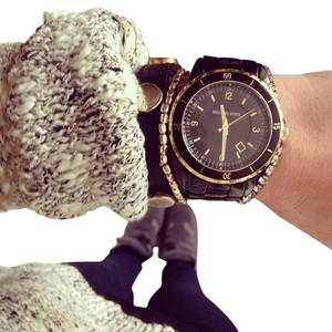 Michael Kors Michael Kors Black Ceramic watch with gold accents