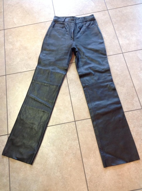 Whet Blu High Waist Leather Perfect Condition Straight Pants Black Image 2