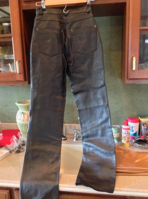 Whet Blu High Waist Leather Perfect Condition Straight Pants Black