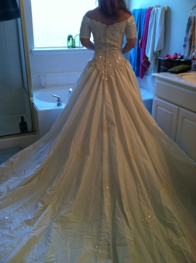 Moonlight Bridal Ivory Peau De Soie Vintage Wedding Dress Size 6 (S)