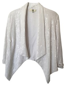 Ya Los Angeles Lapel Sequins Sweater Jacket Party Top White