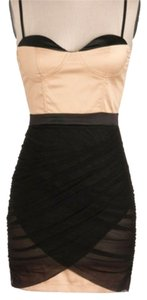 Blaque Market Bustier Mini Silk Champagne Black Dress