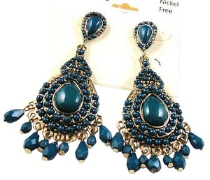 Cato Cato Chandelier Earrings 3 in. Long Dangle Blue Gold Tone J1930