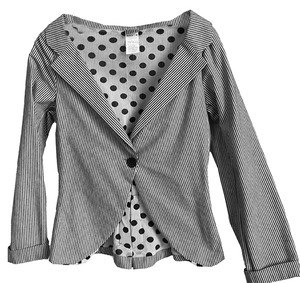 Lilith Cropped grey and cream stripe Blazer