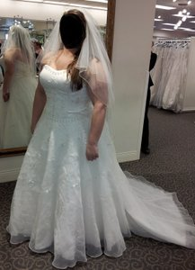 Oleg Cassini Satin Bodice Organza Wedding Dress Wedding Dress