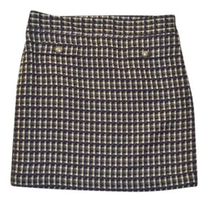 Ann Taylor LOFT Pencil Plaid Woven Work Mini Skirt Black/White/Perwinkle/Gray