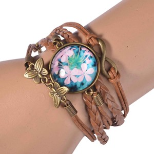 Other Infinity Cabochon Bracelet Leather Antiqued Gold Flowers J1932