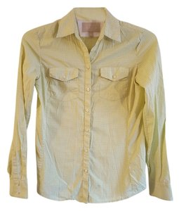 Banana Republic Great Detail Button Down Shirt Pale Lime Green & White Gingham