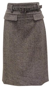 Oscar de la Renta Silk Pencil High Waist Skirt Black and White Tweed
