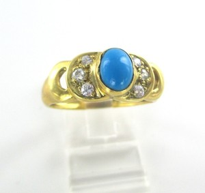 18K Solid Yellow Gold Ring with Turquoise and Zirconia