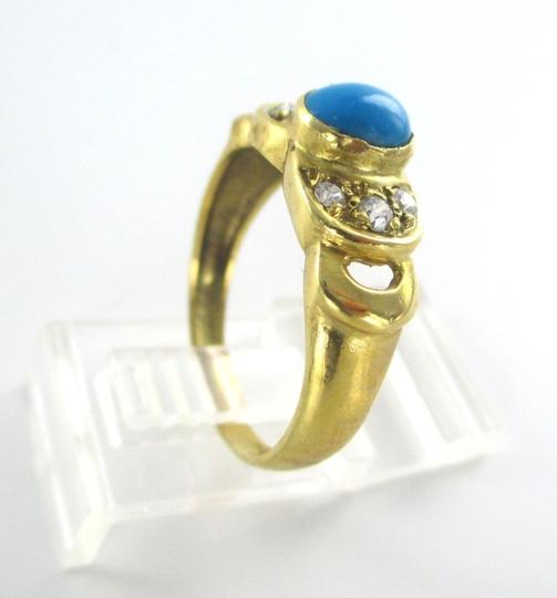 Other 18K Solid Yellow Gold Ring with Turquoise and Zirconia