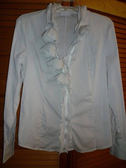 New York & Company Pinstripe Button Down Shirt Black and White Stripe