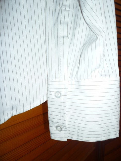 New York & Company Button Down Shirt Black and White Stripe
