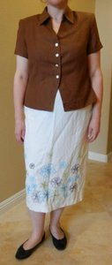 Jessica Howard Jessica Howard Embroidered Linen Skirt Set Plus Petite 14WP