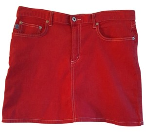 Baby Phat On Trend Mini Skirt Red Denim
