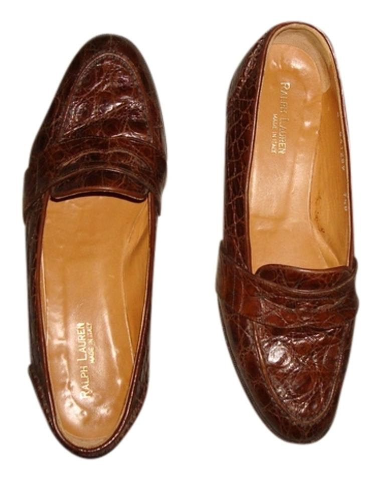 402701d2707 Ralph Lauren Cognac Collection Crocodile Skin Penny Loafers Flats ...