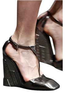 Prada Metallic Grey Wedges