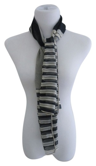 Nordstrom Nordstrom Navy Nautical Stripe Chiffon Silk Scarf - Made In Italy Image 0