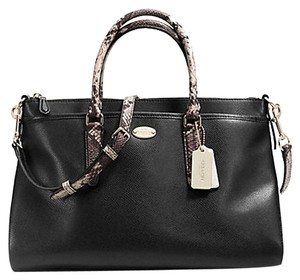 Coach Morgan Leather Two-tone Front Shoulder Strap Satchel in Black