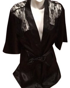 Dreamgirl Satin Robe Lace Blac Blazer