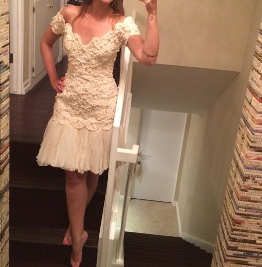 Ivory Lace Heavy and Pearl Made In For Sax Fifth Avenue Vintage Wedding Dress Size 4 (S)