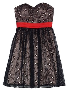 Phoebe Couture short dress Black Red Tan Eyelet Overlay on Tradesy